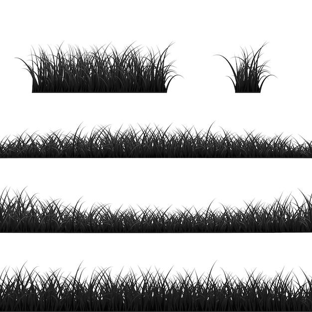 Набор границ травы. панорама черной травы. иллюстрация на белом фоне Premium векторы