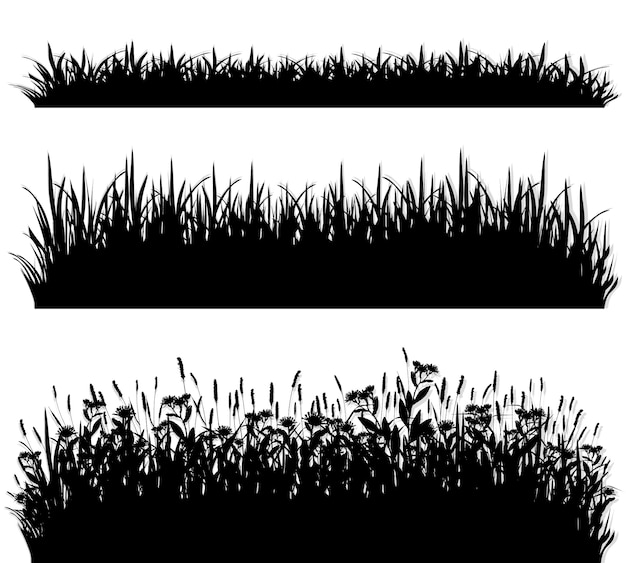 Grass borders silhouette set Premium Vector