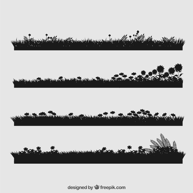 Grass collection with flowers Free Vector