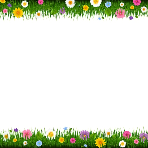 Grass and flowers border with gradient mesh,  illustration Premium Vector