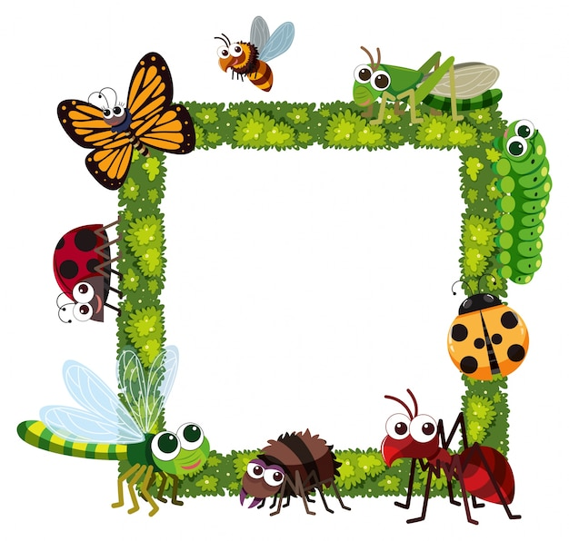 Grass frame with many insects Vector | Premium Download