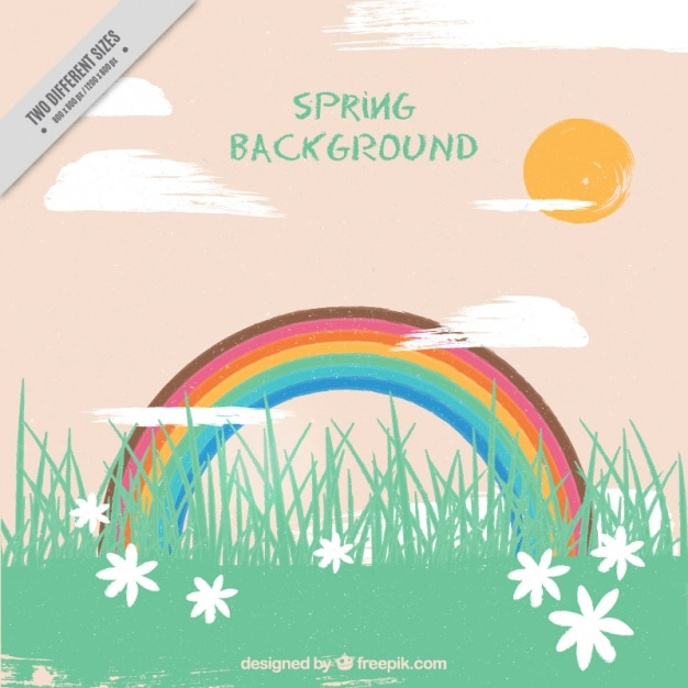 Grass landscape background with flowers and\ rainbow