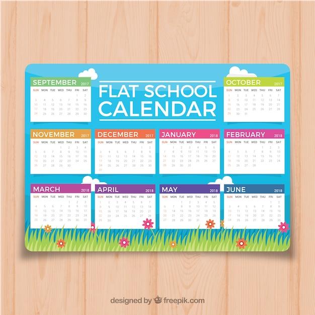 Grass school calendar in flat design