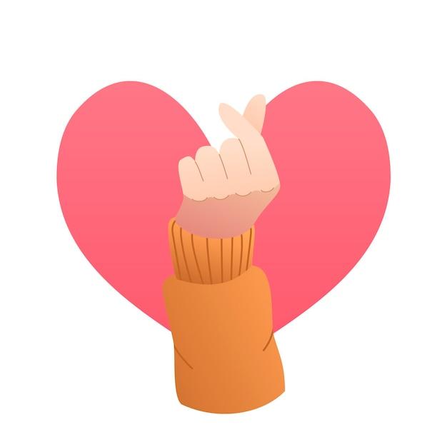 Gratient finger heart Free Vector