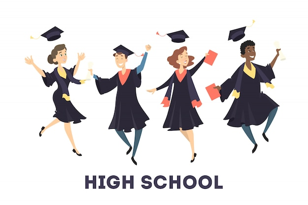 Gratuated students jumping with hats and diploma on white. Premium Vector