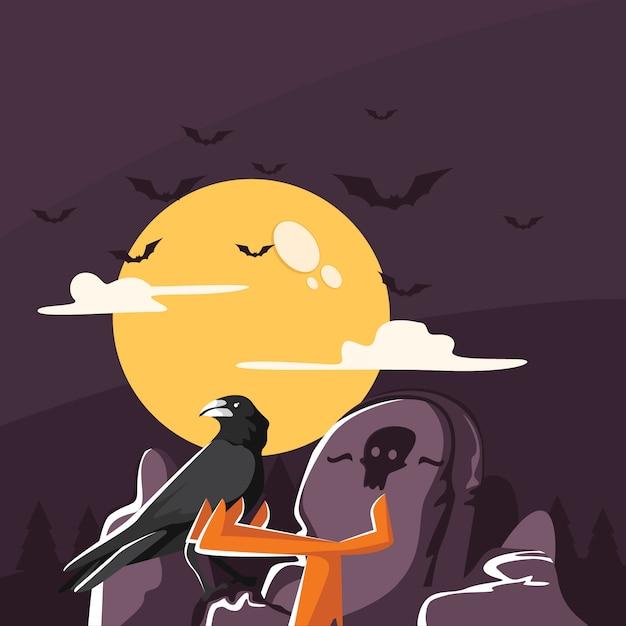 Grave guardian crow Premium Vector