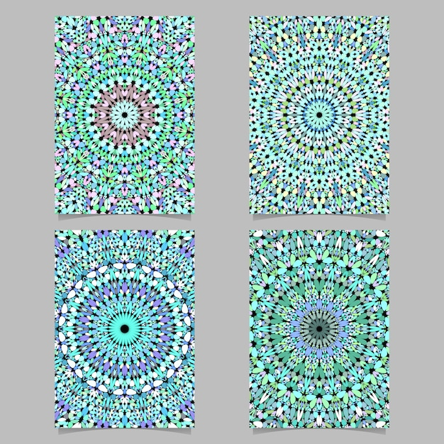 Gravel mosaic mandala pattern poster background set Premium Vector