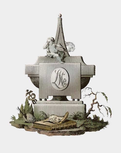 Надгробный камень с траурным ангелом Бесплатные векторы