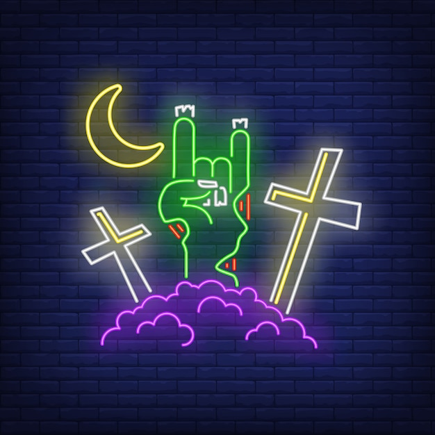 Free Vector Graveyard With Devil Horn Zombie Hand Gesture Neon Sign