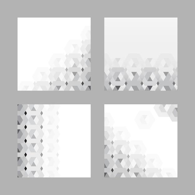 Gray 3d hexagonal pattern background set Free Vector