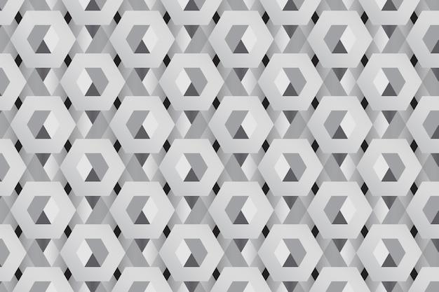 Серый 3d гексагональной узор фона Бесплатные векторы