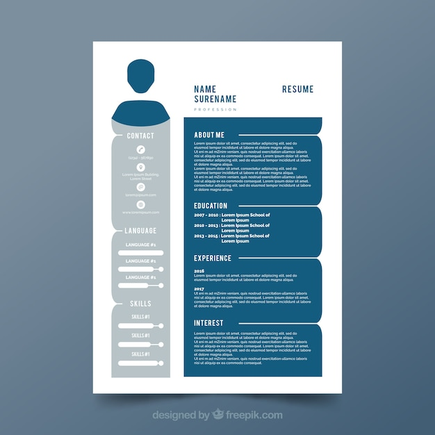 gray and blue cv template vector free download