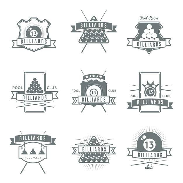 Серый и изолированный бильярдный логотип с бильярдной и описанием клуба Бесплатные векторы