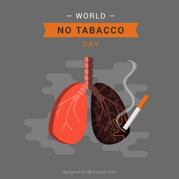 Gray background of lungs with cigarette Free Vector