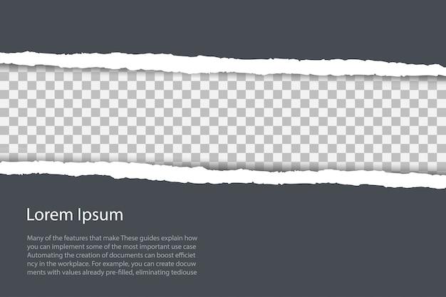 Серый фон с copyspace и краем рваной бумаги. Premium векторы