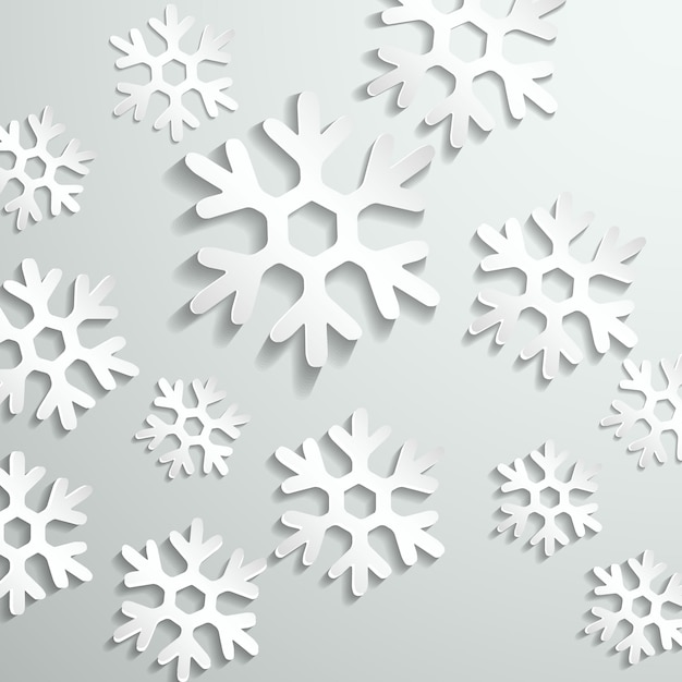 Gray background with white snowflakes Free Vector
