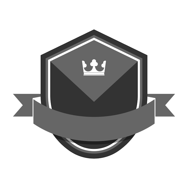 Gray badge embellished with a banner Free Vector