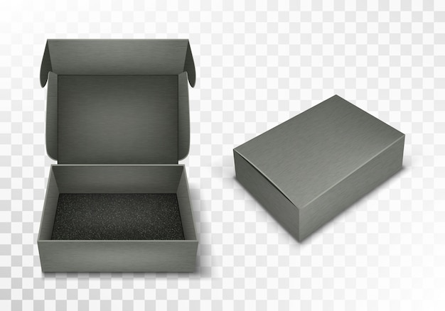 Gray blank cardboard box with flip top, realistic Free Vector