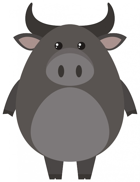 Gray buffalo on white background Free Vector