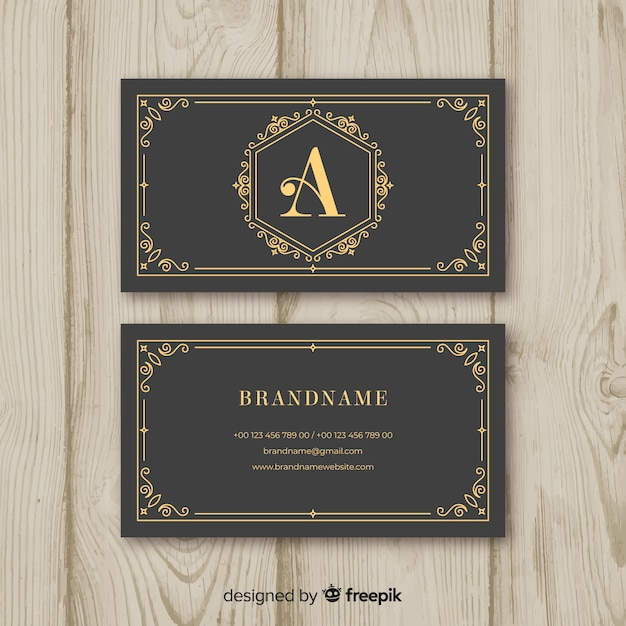 Gray business card with golden text Free Vector
