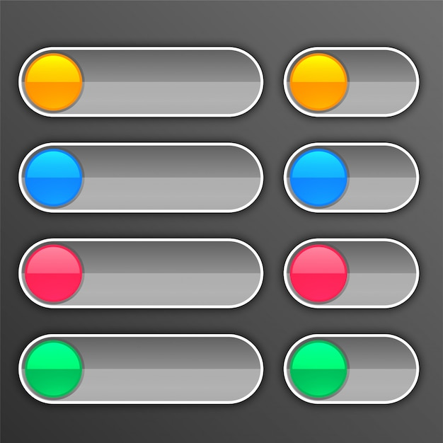 Gray buttons set in different sizes Free Vector