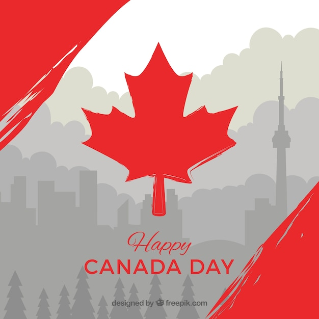 Gray canada day background with red details Free Vector