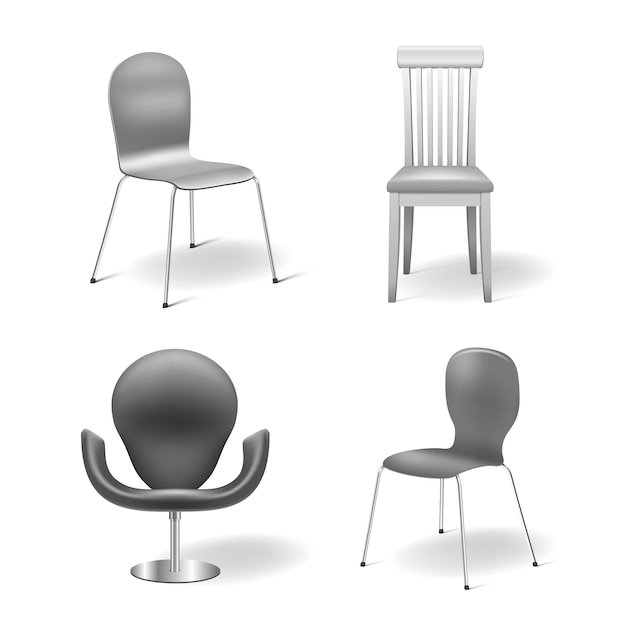 Gray chairs set isolated Free Vector