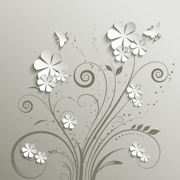 Gray Floral Background Free Vector