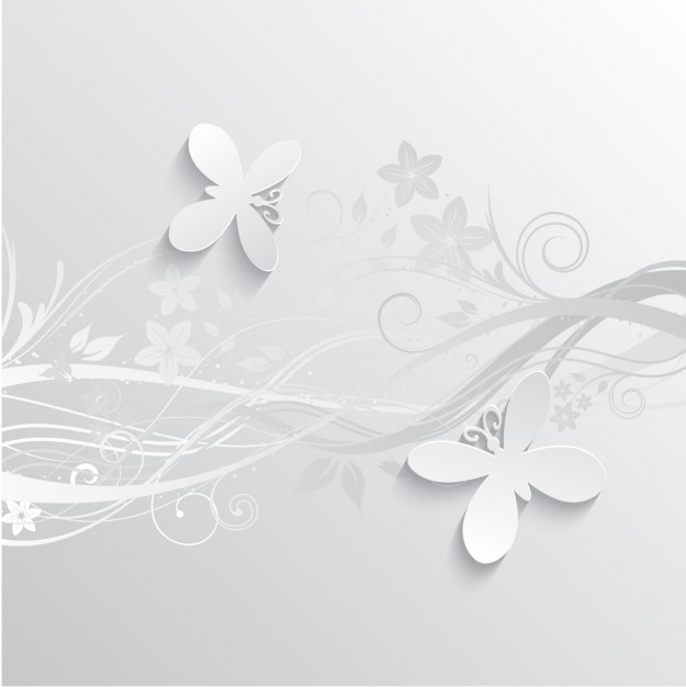 gray flowers and butterflies background vector free download