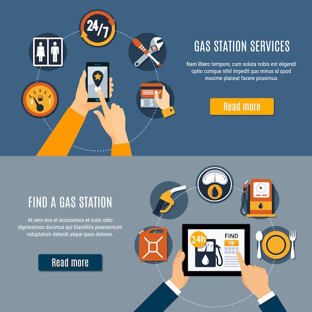 Gray fuel pump   set Free Vector