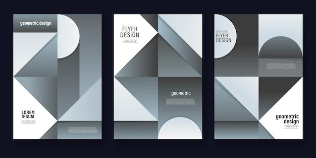 灰色の幾何学的な背景のチラシテンプレート Premiumベクター