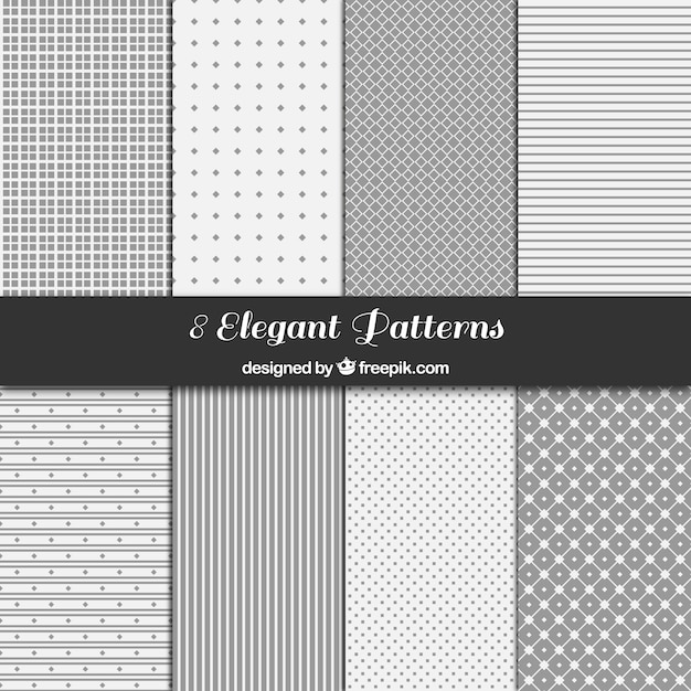 Gray geometric patterns collection Free Vector