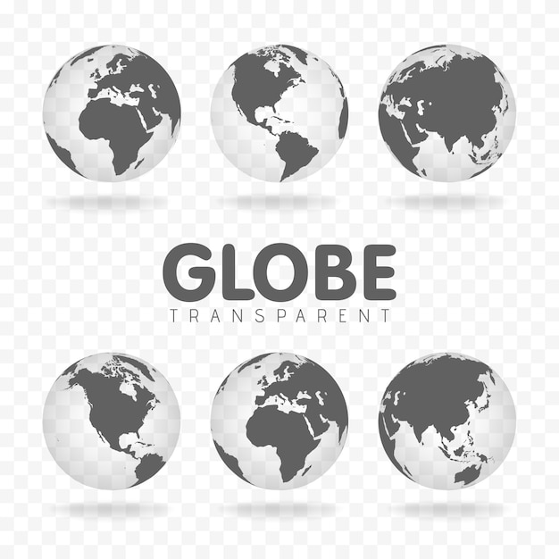 Gray globe icons with different continents Premium Vector