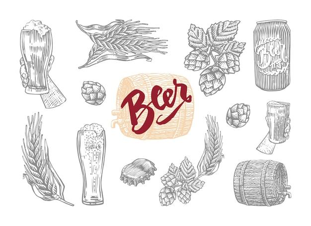 ビールを準備する要素が設定された彫刻スタイルのビールで分離された灰色 無料ベクター