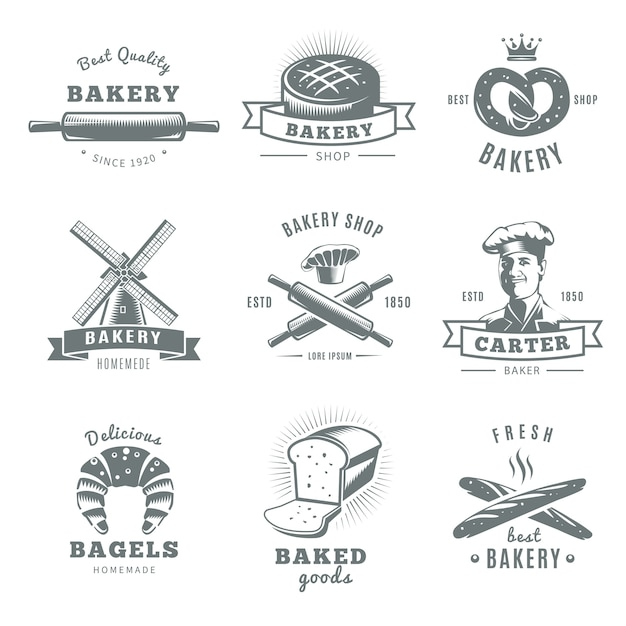Gray and isolated vintage bakery logo set with best quality carter baker and fresh best bakery descriptions Free Vector