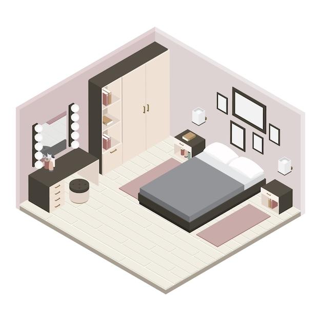 Interno camera da letto grigio isometrico Vettore gratuito