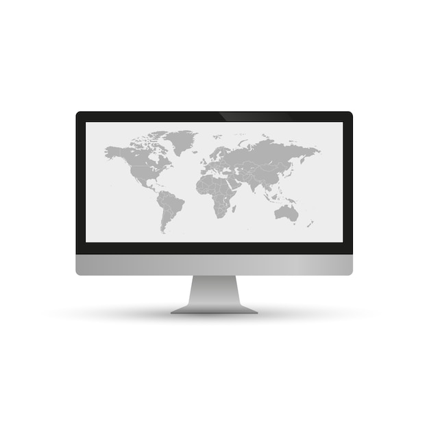The gray map of the world is depicted on screen computer and on a white background. Premium Vector
