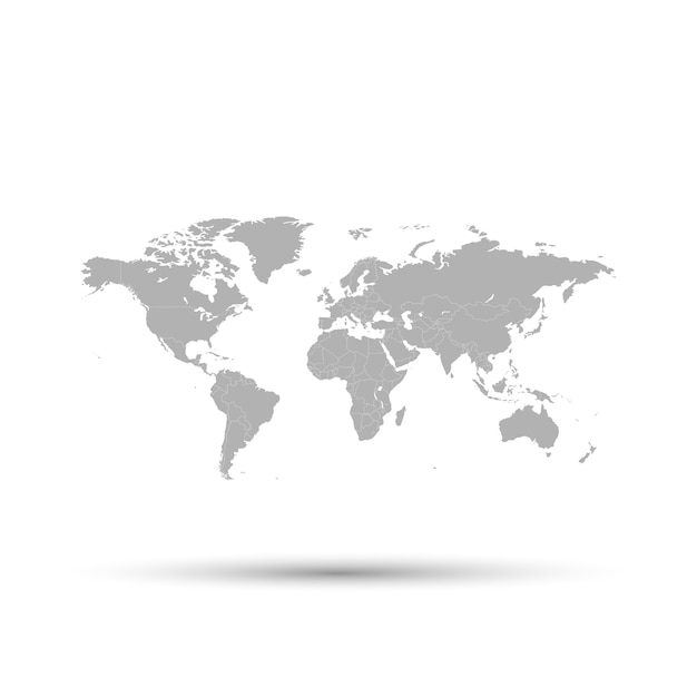 The gray map of the world is depicted on a white background. Premium Vector