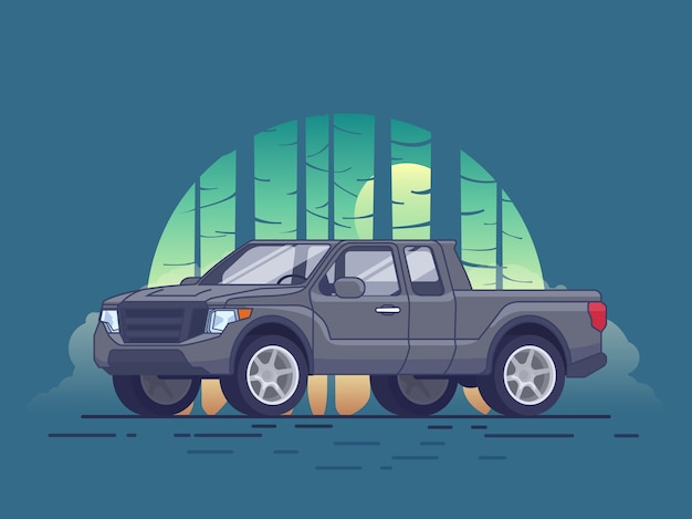 Gray pickup truck concept Free Vector