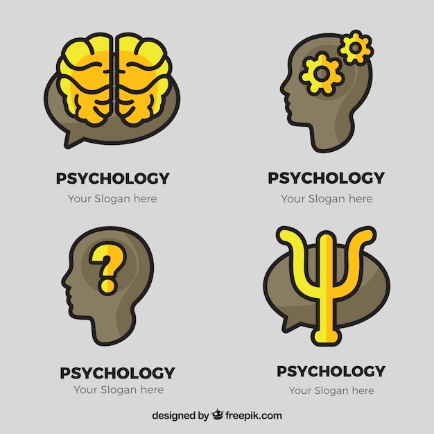 Gray Psychology Logos With Yellow Details Vector Free