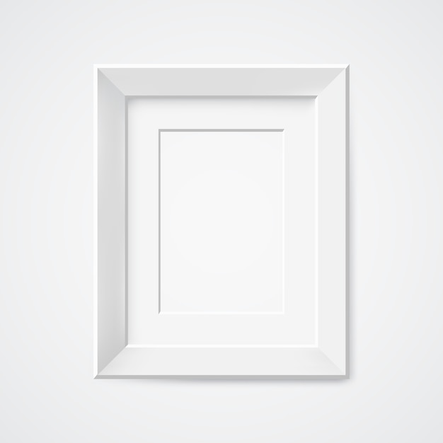 Gray rectangular photo frame with shadow Premium Vector