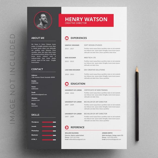 gray and red resume template vector
