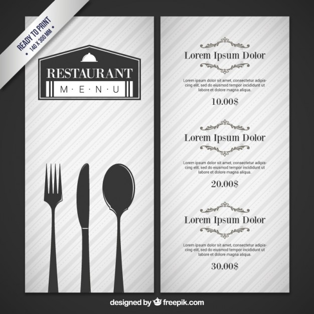 Gray restaurant menu with cutlery Free Vector