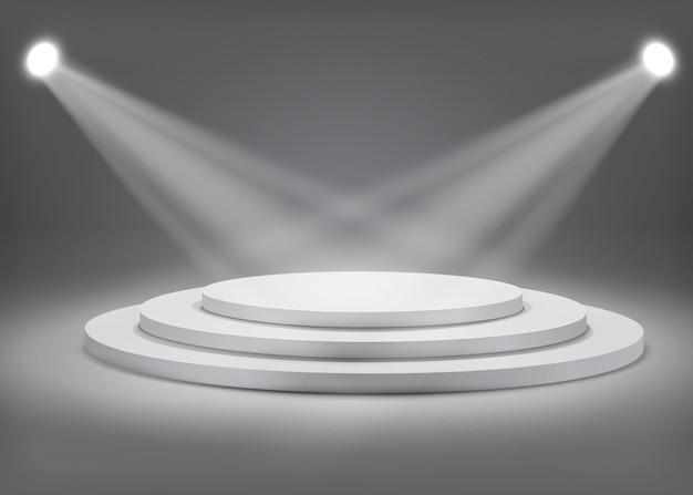 Gray round podium with spotlights Premium Vector