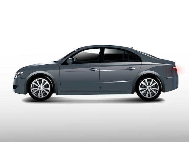Gray sedan car isolated on white vector Free Vector