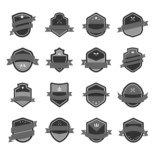 Gray shield icon embellished with banner vectors Free Vector