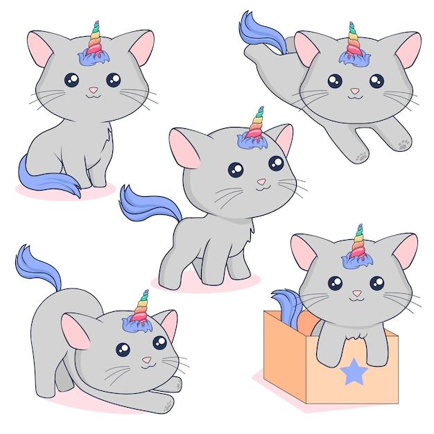 Gray unicorn cats Premium Vector