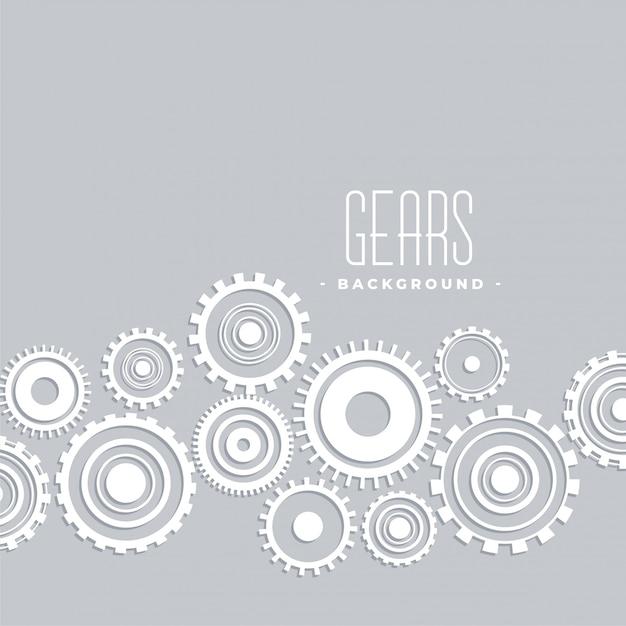 白いギア接続デザインのグレー 無料ベクター