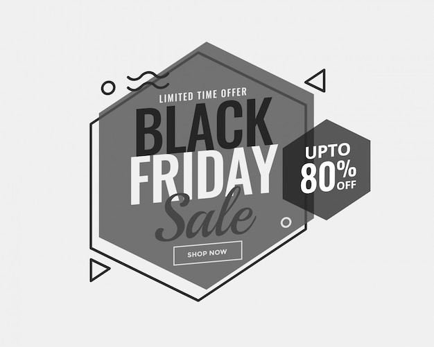 Grayscale black friday memphis style sale banner design Free Vector