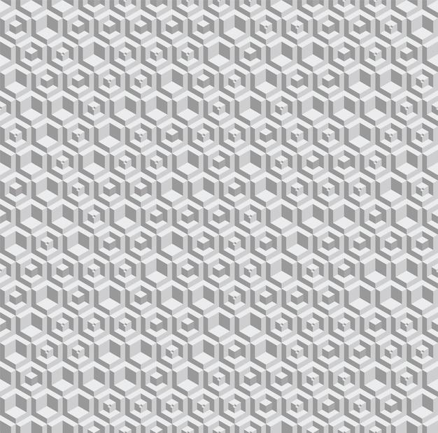 Modello senza cuciture esagonale in scala di grigi. elementi volumetrici esagonali posizionati casualmente. Vettore gratuito